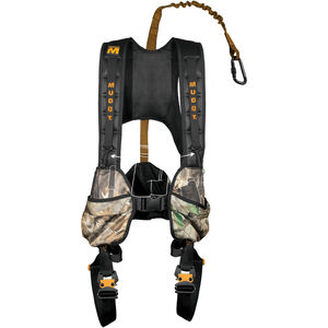 Muddy Outdoors The Crossover Combo Fall Arrest System (FAS) Safety Harness, Rope, and Straps Rated to 300 lbs Padded Nylon Camo Large