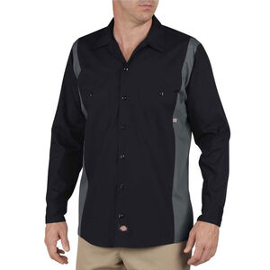 Dickies Men's Industrial Color Block Shirt L/S Large Tall Black/Charcoal