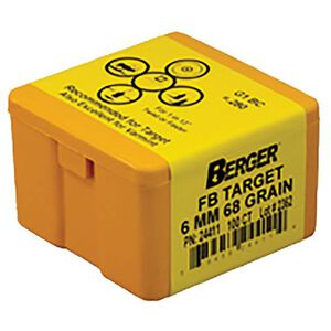 "Berger 6mm Caliber .243"" Diameter 68 Grain Match Target Hollow Point Flat Base Rifle Bullet 100 Count 24411"