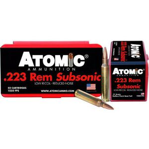 Atomic Subsonic .223 Remington Ammunition 50 Rounds 77 Grain Boat Tail Hollow Point 1050fps
