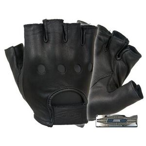 Damascus Gear Premium Leather Half Finger Driving Gloves Medium Black
