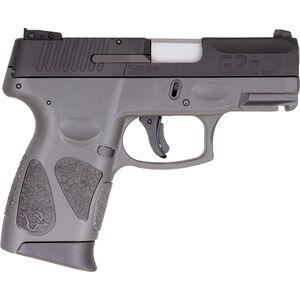"""Taurus G2C 9mm Luger Compact Semi Auto Pistol 3.20"""" Barrel 12 Rounds Single Action with Restrike 3-Dot Sights Thumb Safety Gray Polymer Frame Black Finish"""