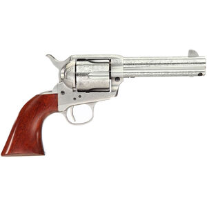 """Taylor's & Co Cattleman Floral Engraved .45 LC Single Action Revolver 4.75"""" Barrel 6 Rounds Walnut Grips White Heat-Treated Finish"""
