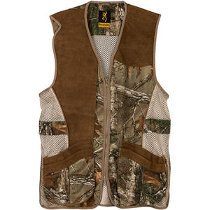 Browning Crossover Shooting Vest Small Standard Fit Two Way Zipper REACTAR G2 Pad Pocket Cotton Twill and Polyester Mesh with Brown Leather Trim RealTree Xtra Pattern 3050322401