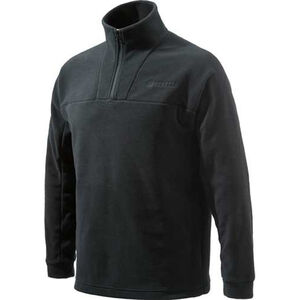 Beretta Fleece Jacket Pull Over 1/4 Zip Trident Logo Black Large