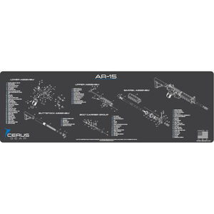 """Cerus Gear AR-15 Schematic ProMat Rifle Size 12""""x36"""" Synthetic Grey/Blue"""