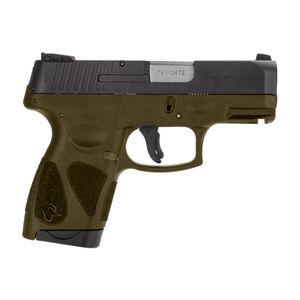 "Taurus G2S Slim 9mm Luger Semi Auto Pistol 3.2"" Barrel 7 Rounds 3 Dot Sights Matte Black Slide/OD Green Frame"