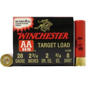"Winchester AA Target Load 28 Gauge Ammunition 250 Rounds 2-3/4"" #8 Lead 3/4oz 1200 fps"