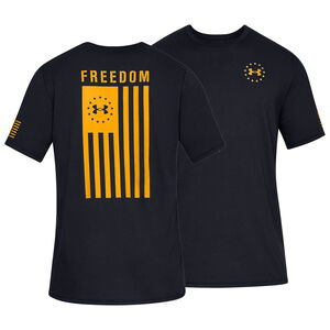 Under Armour Freedom Flag Men's Tactical T-Shirt, Black/Steeltown Gold