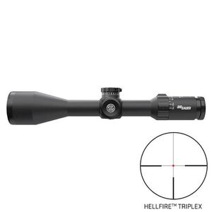 SIG Sauer Whiskey5 2.4-12x56 Riflescope Illuminated Hellfire Triplex Reticle 30mm Tube .25 MOA Adjustment Second Focal Plane Black Finish