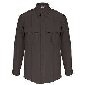 "Elbeco Textrop2 Men's Long Sleeve Shirt Neck 17.5 Sleeve 37"" 100% Polyester Tropical Weave Black"