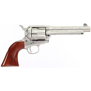 "Taylor's & Co Cattleman Floral Engraved .357 Mag Single Action Revolver 5.5"" Barrel 6 Rounds Walnut Grips White Heat-Treated Finish"
