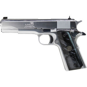 "Iver Johnson 1911A1 .38 Super Semi Auto Pistol 8 Rounds 5"" Barrel Synthetic Black Pearl Grips Chrome Finish"