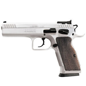 "EAA Witness Elite Stock II Semi Auto Pistol .38 Super 4.5"" Barrel 17 Rounds Adjustable Sight Ambidextrous Safety Checkered Walnut Grip Chrome Finish"
