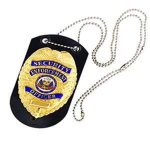Galco Shield Badge Holder  with Belt Clip and Neck Chain Leather Black BHSHB