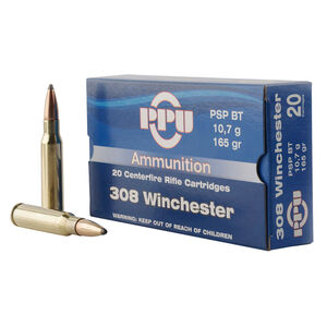 Prvi Partizan PPU .308 Winchester Ammunition 20 Rounds 165 Grain Pointed Soft Point Boat Tail 2675fps