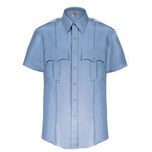 Elbeco Textrop2 Men's Short Sleeve Shirt Neck 15.5 100% Polyester Tropical Weave Blue