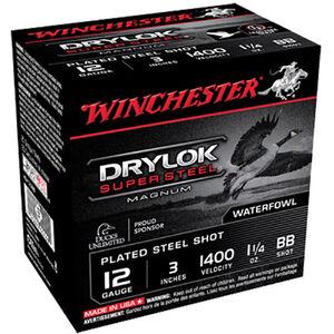 """Winchester Drylok Super Steel 12 Gauge Ammunition 25 Round Box 3"""" BB Steel Shot 1-1/4 oz 1400 fps"""