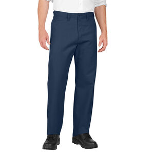 Dickies Men's Industrial Flat Front Pants Polyester / Cotton Waist 34 Length 32 Navy LP812