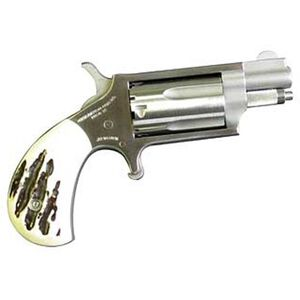 "NAA Mini Revolver Revolver .22 Magnum 1.125"" Barrel 5 Rounds Steel Stainless Imitation Stag Grips"