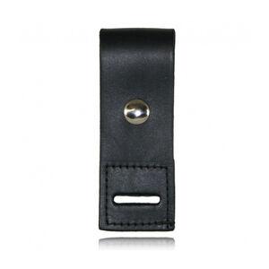 Boston Leather Epaulet Mic Holder with Slot Nickel Snap Plain Leather Black 5469-1-N
