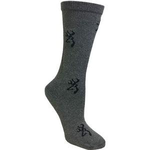 Browning Ladies Heartland Calf Socks Size 6-10 Wool Blend Calf Height Medium Grey with Pink Buckmark