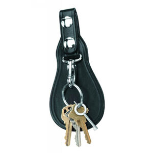 Gould & Goodrich Key Strap with Flap Black Leather