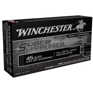 Winchester Super Suppressed .45 ACP Subsonic Ammunition 230 Grain FMJ Fully Encapsulated B