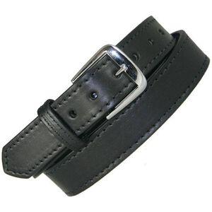 "Boston Leather Off Duty Belt Stitched 36"" Nickel Plain Black"