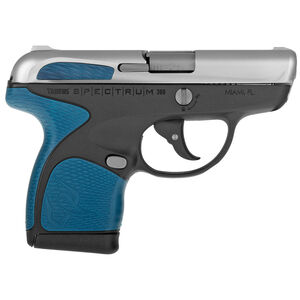 "Taurus Spectrum Semi Auto Pistol .380 ACP 2.8"" Barrel 6/7 Round Magazines Low Profile Fixed Sights Stainless Steel Slide/Polymer Frame Black/Blue Accents"