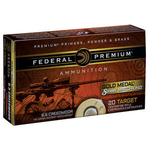 Federal 6.5 Creedmoor Ammunition 20 Rounds Gold Medal MK-BTHP 140 Grains