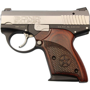 """Bond Arms BullPup9 9mm Luger DA Semi Auto Pistol 3.35"""" Barrel 7 Rounds Rosewood Grip Two Tone Stainless/Black Finish"""