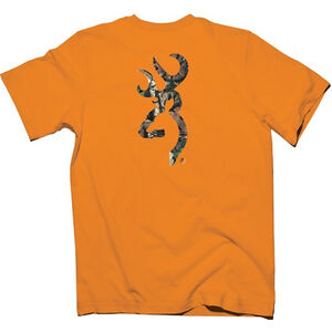 Browning Mens Buckmark Logo T Shirt Cotton Orange S