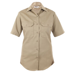Elbeco LA County Sheriff West Coast Class A Short Sleeve Shirt Women's Size 38 Polyester /Wool Silver Tan