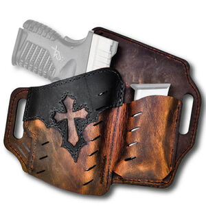 Versacarry Underground Premium Guardian Arc Angel Holster With Magazine Pouch Belt Slide OWB Right Hand Leather Distressed Brown and Black