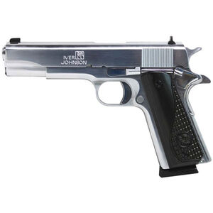 "Iver Johnson 1911A1 Semi Auto Pistol 38 Super 5"" Barrel 8 Rounds Black Wood Grips Chrome"