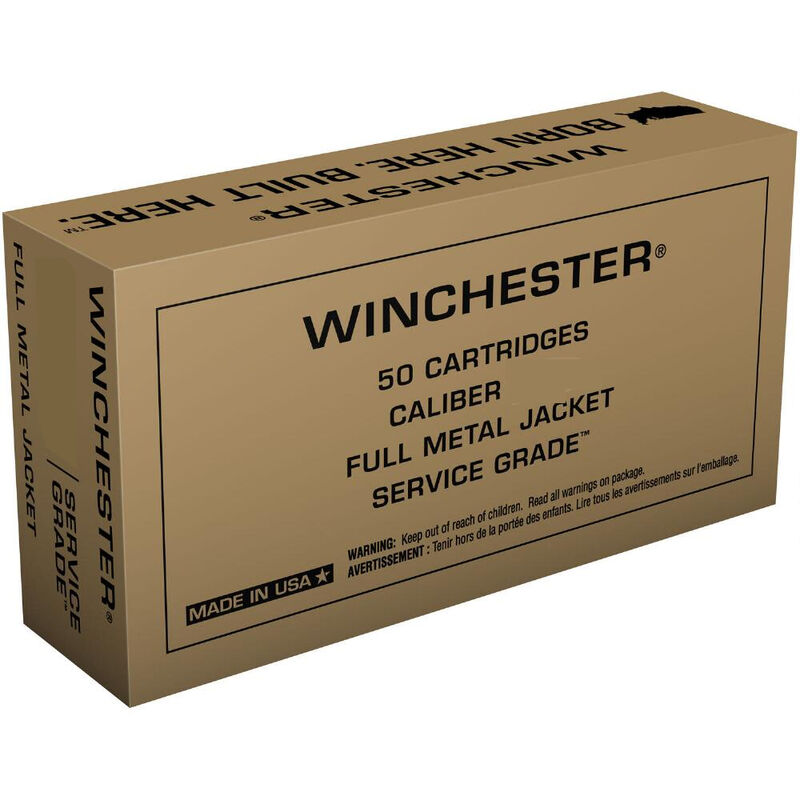 Winchester Service Grade .40 S&W Ammunition 50 Rounds 165 Grain Full Metal Jacket