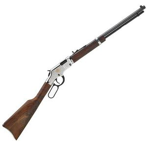 """Henry Repeating Arms American Beauty Lever Action Rifle .22 S/L/LR 20"""" Barrel 16 Rounds Engraved Nickel Receiver Walnut Stock Blued H004AB"""