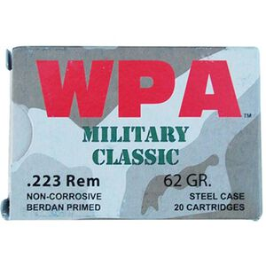 Wolf Military Classic .223 Remington Ammunition 62 Grain Bi-Metal Jacketed HP Steel Case 2