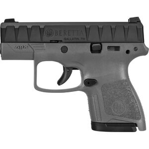 "Beretta APX Carry 9mm Luger Semi Auto Pistol 3"" Barrel 8 Rounds Ergonomic Modular Gray Polymer Grip Frame Black"