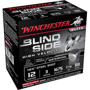 """Winchester Blind Side High Velocity 12 Gauge Ammunition 3"""" BB Hex Steel Shot 1-1/8 oz 1675 fps"""