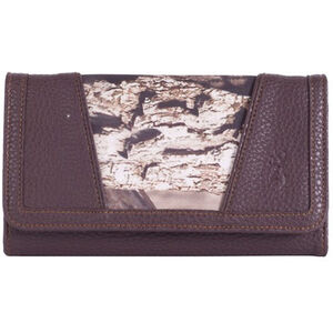 Signature Product Group Browning Buckmark Women's Bailey Wallet Large Trifold Mossy Oak Break-Up Country and Brown Leather BG10003