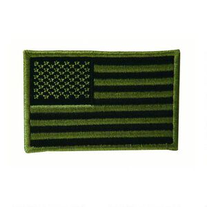 Voodoo Embroidered USA Military Flag Patch OD Green