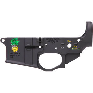 Spikes Tactical Pineapple Grenade Stripped AR-15 Lower Receiver 7075-T6 Forged Aluminum Multi-Cal Marked Color Filled Engravings Anodized Black