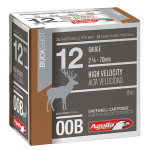 "Aguila Field 12 Gauge 2-3/4"" Ammunition 25 Round Box 00 Buck 1275 fps"