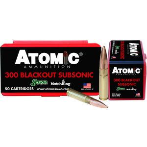 Atomic Subsonic .300 AAC Blackout Ammunition 50 Rounds 220 Grain Sierra MatchKing Boat Tail Hollow Point 1050fps