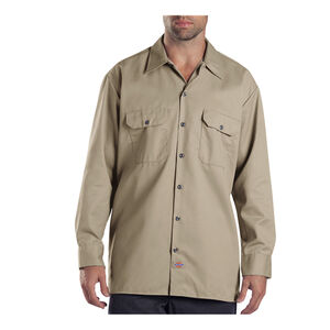 Dickies Men's Long Sleeve Twill Work Shirt Medium Regular Desert Sand 574DS