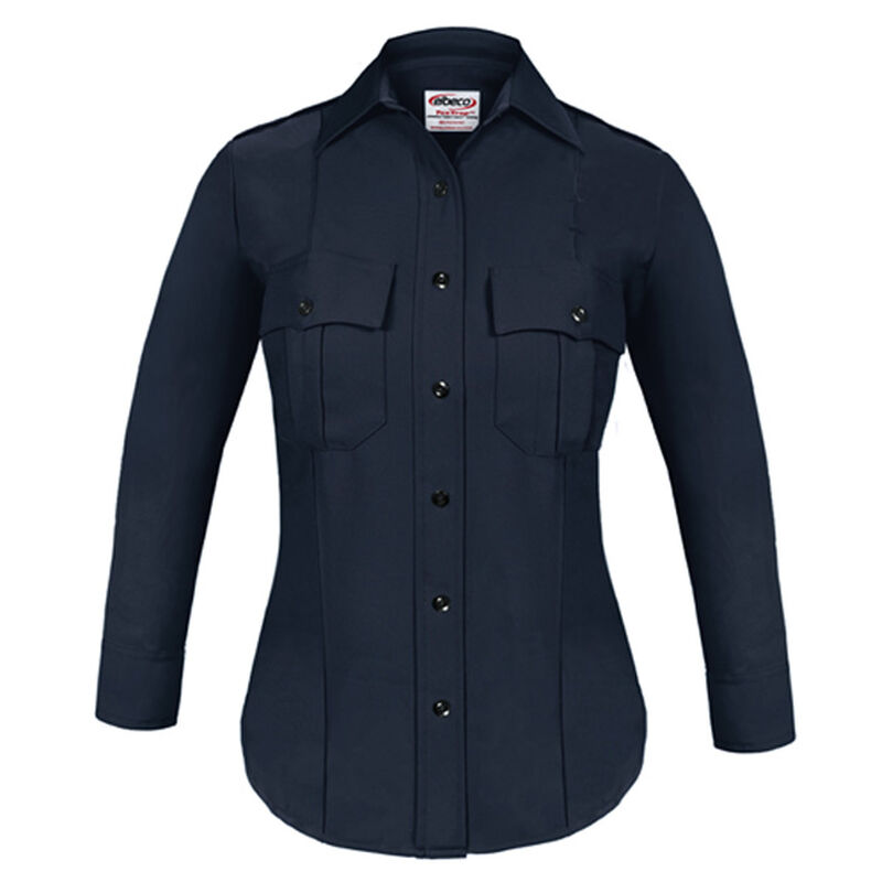 Elbeco TEXTROP2 Women's Long Sleeve Shirt Size 34 100% Polyester Tropical Weave Midnight Navy