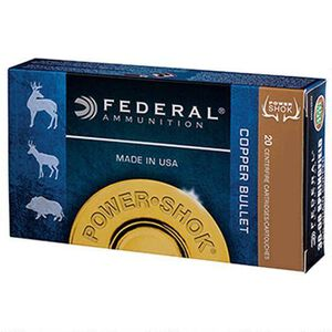 Federal Power-Shok Copper .300 Winchester Short Magnum Ammunition 20 Rounds 180 Grain Lead Free Copper Hollow Point 2950fps