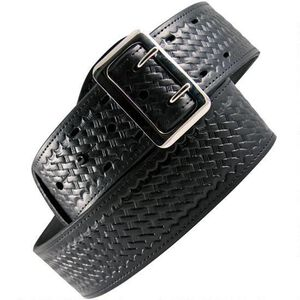 "Boston Leather Lined Sam Browne Belt 30"" Chrome BW Black"